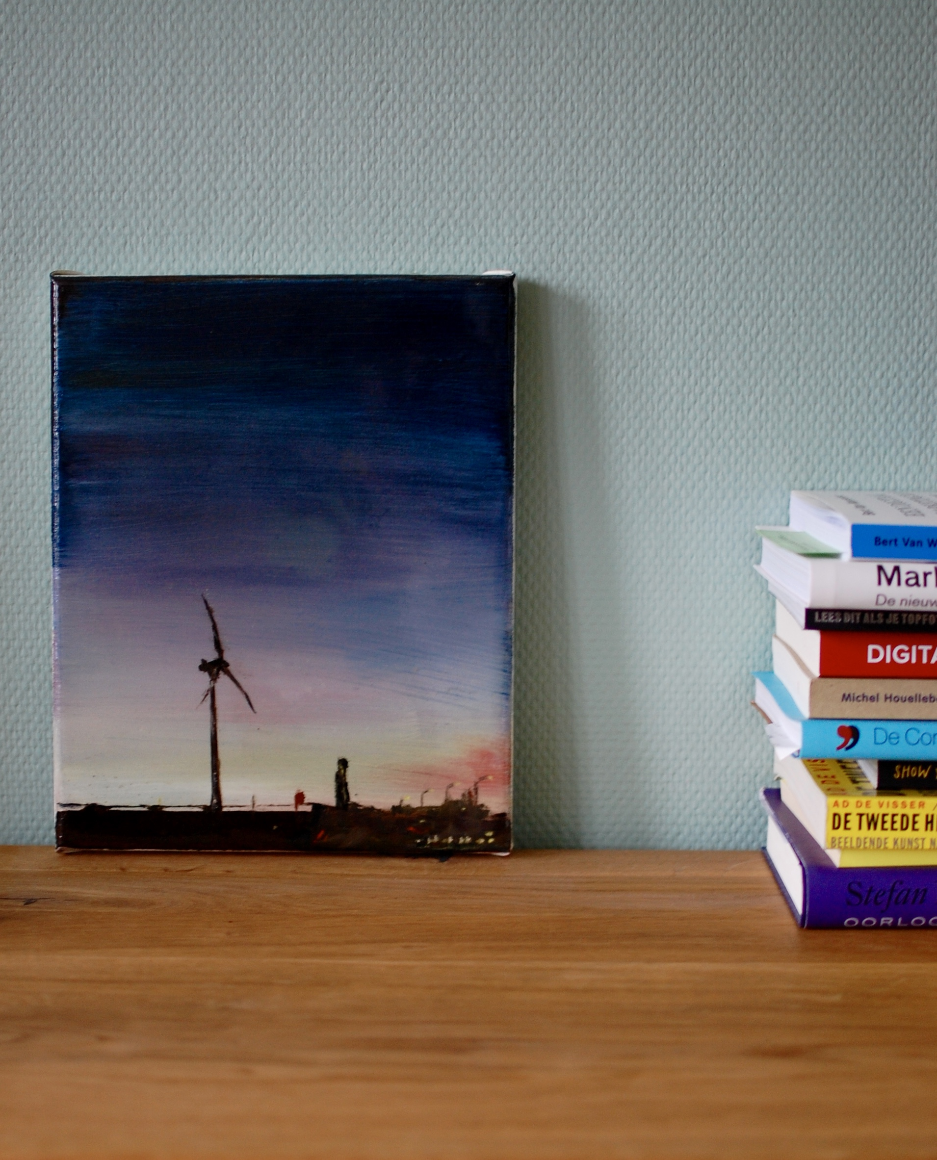 Painting Windmill on a book shelf