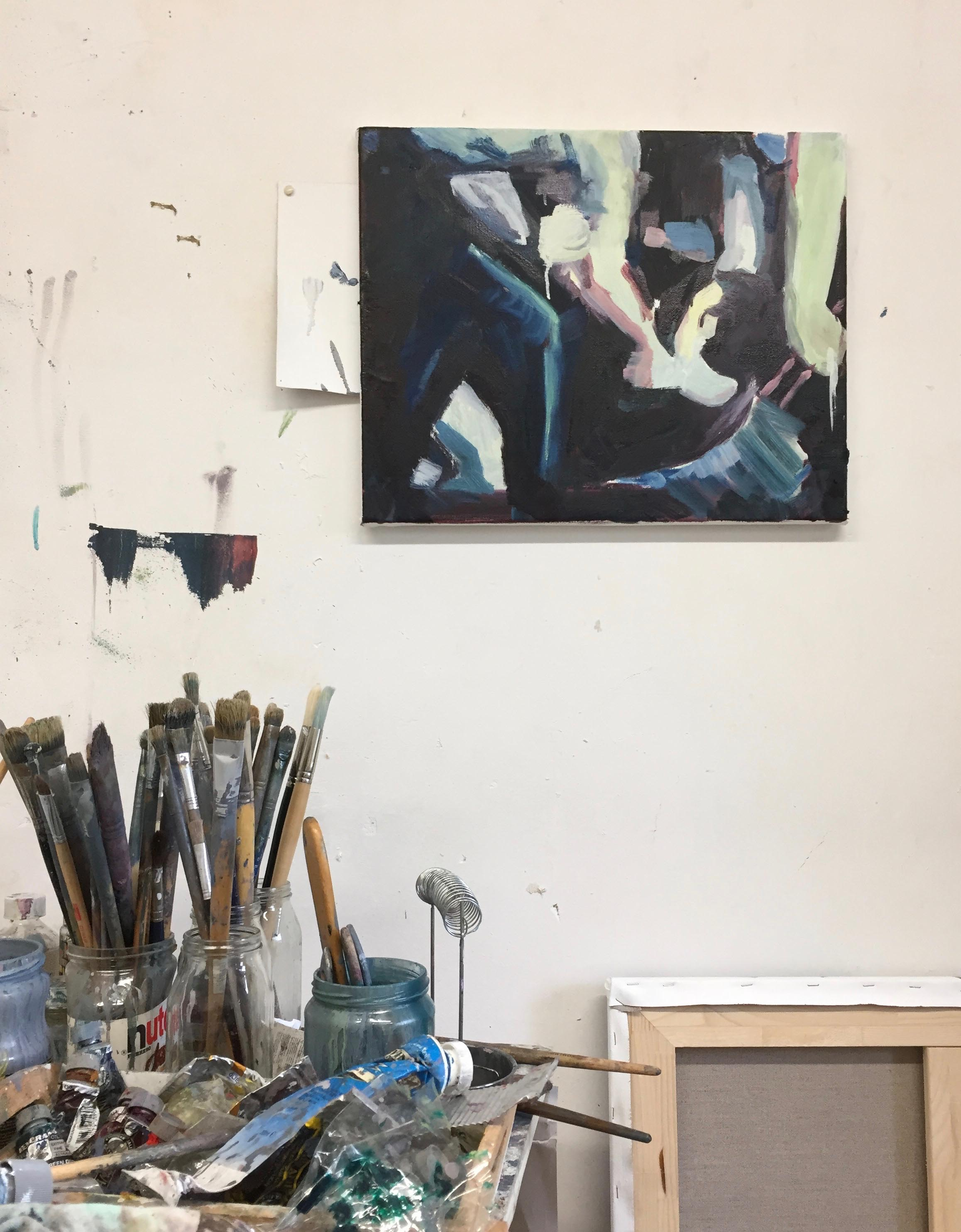 handhaving, schilderij Bart Vinckier in studio