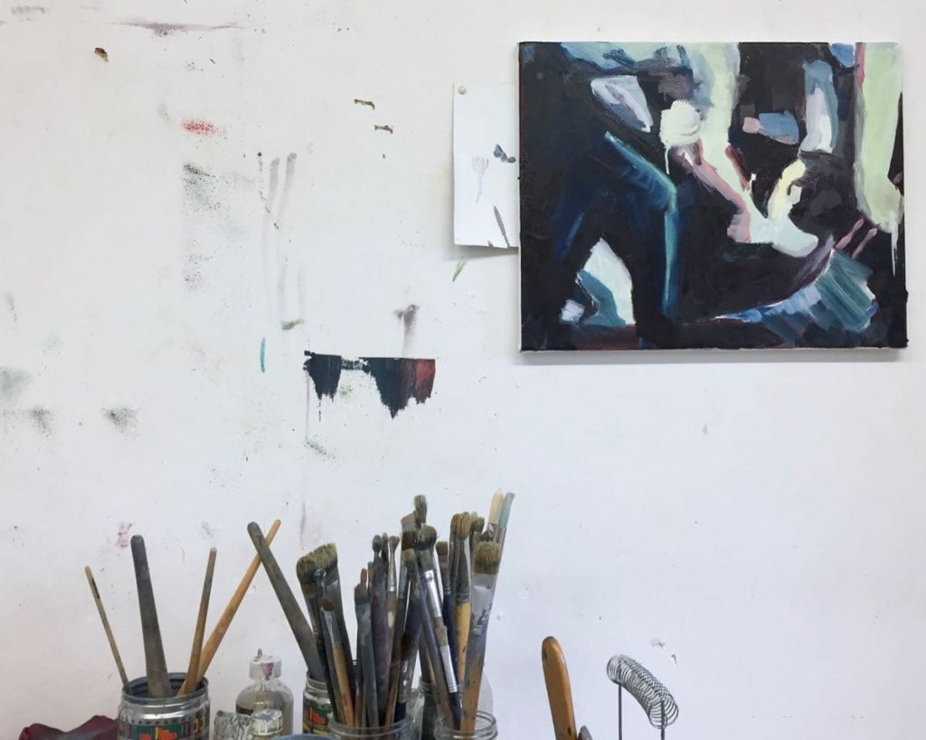 de handhaving - painting by bart vinckier in studio