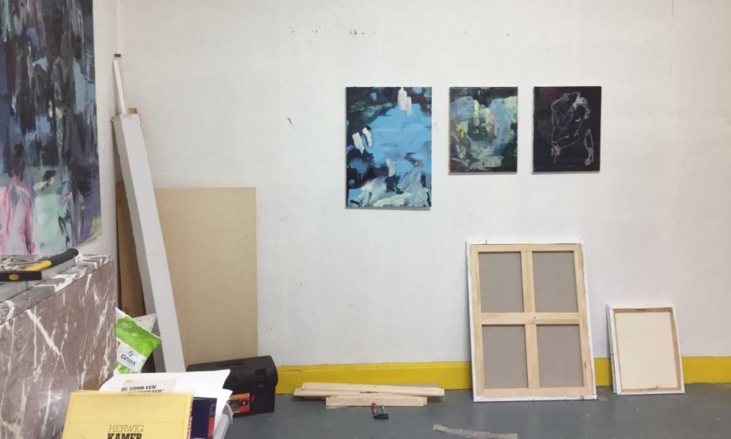 rotstock, painting by Bart Vinckier in studio at Rauwkost Roeselare